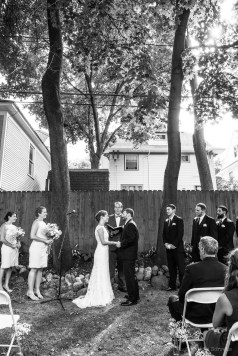 Backyard wedding ceremony by Sorrells Photography