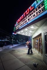Bridal portrait at Montpelier movie theater by Sorrells Photography